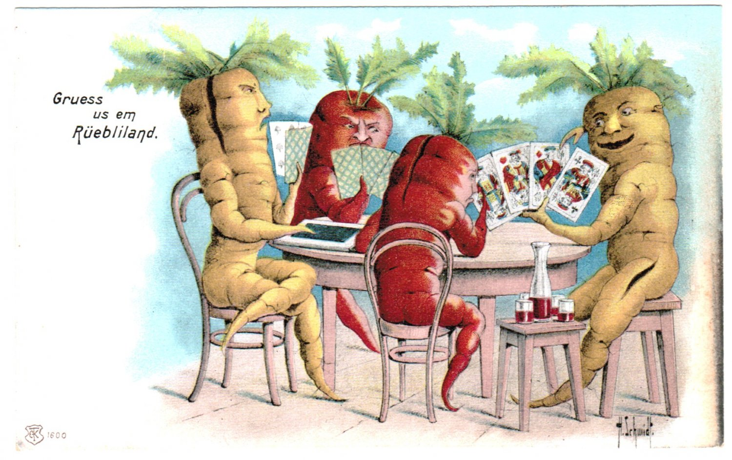 VERY RARE c1920 VEGETABLE VEGGIE CARROT PEOPLE VINTAGE FANTASY POSTCARD ANTHROPOMORPHIC
