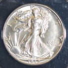 1942 D MS 64 Brilliant White Walking Liberty Silver Half Dollar