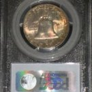 1957 D Rainbow Toned MS 65 Full Bell Line PCGS Franklin Silver Half Dollar Half