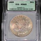 1889 MS 65 Rainbow Toned Certified Morgan Silver Dollar