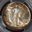1945 Rainbow Toned PCGS MS 66+ Walking Liberty Half Dollar