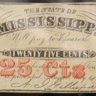 1864 MS-19 Uncirculated Mississippi Twenty Five Cent Note