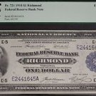 1918 Fr. 721 PCGS Graded XF 45 One Dollar Richmond Federal Reserve Bank Note