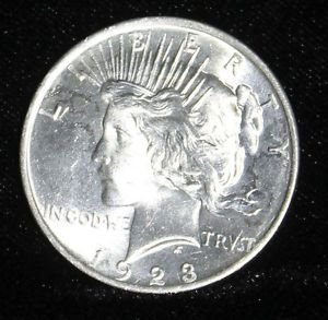 1923 Choice Brilliant Uncirculated Lustrous Peace Silver Dollar-Free Shipping