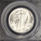 1945 D PCGS Gem Brilliant White MS 65 Walking Liberty Silver Half Dollar