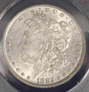 1882 O/S AU 58 VAM 3 Top 100 Doubled Date Flush O over S Morgan Silver Dollar