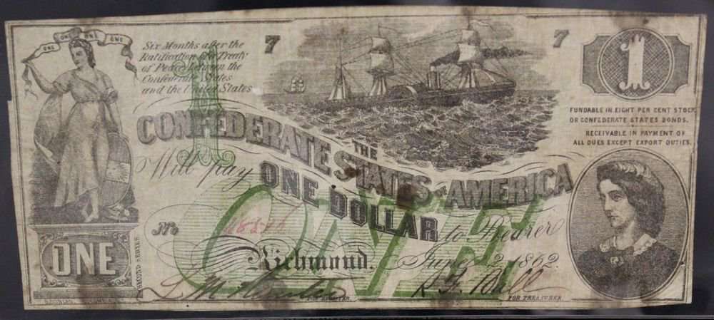 1862 T-45 Choice Very Fine One Dollar Confederate Note With Over Print