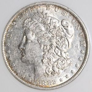 1882 O over S VAM 3 Early Die State Top 100 AU 53 Morgan Silver Dollar