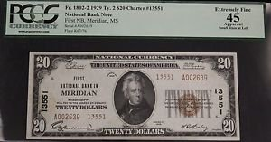 1929 Fr 1802-2 Type 2 PCGS EF 45 First National Bank Meridian Twenty Dollar Note