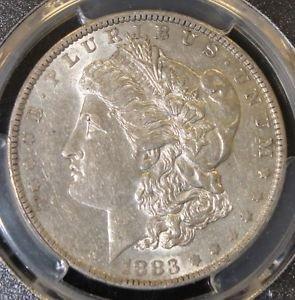 1883 O Hot 50 PCGS AU 53 VAM 22A Partial E W/Clash Reverse Morgan Silver Dollar