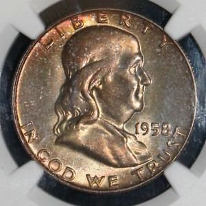 1958 D MS 66 Full Bell Line Rainbow Toned Franklin Silver Half Dollar