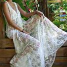 Women Maxi Dress   White V Neck Sexy Lace Crochet   Casual Long Beach Sundress