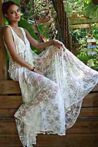 Women Maxi Dress | White V Neck Sexy Lace Crochet | Casual Long Beach Sundress