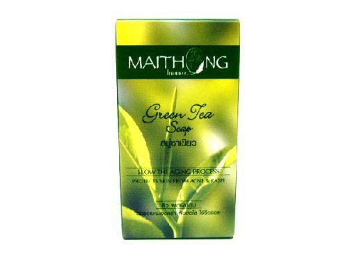 Maithong Green Tea Natural Anti-oxidant Anti-aging Acne Blemish Herbal Herb Soap Amazing of Thailand