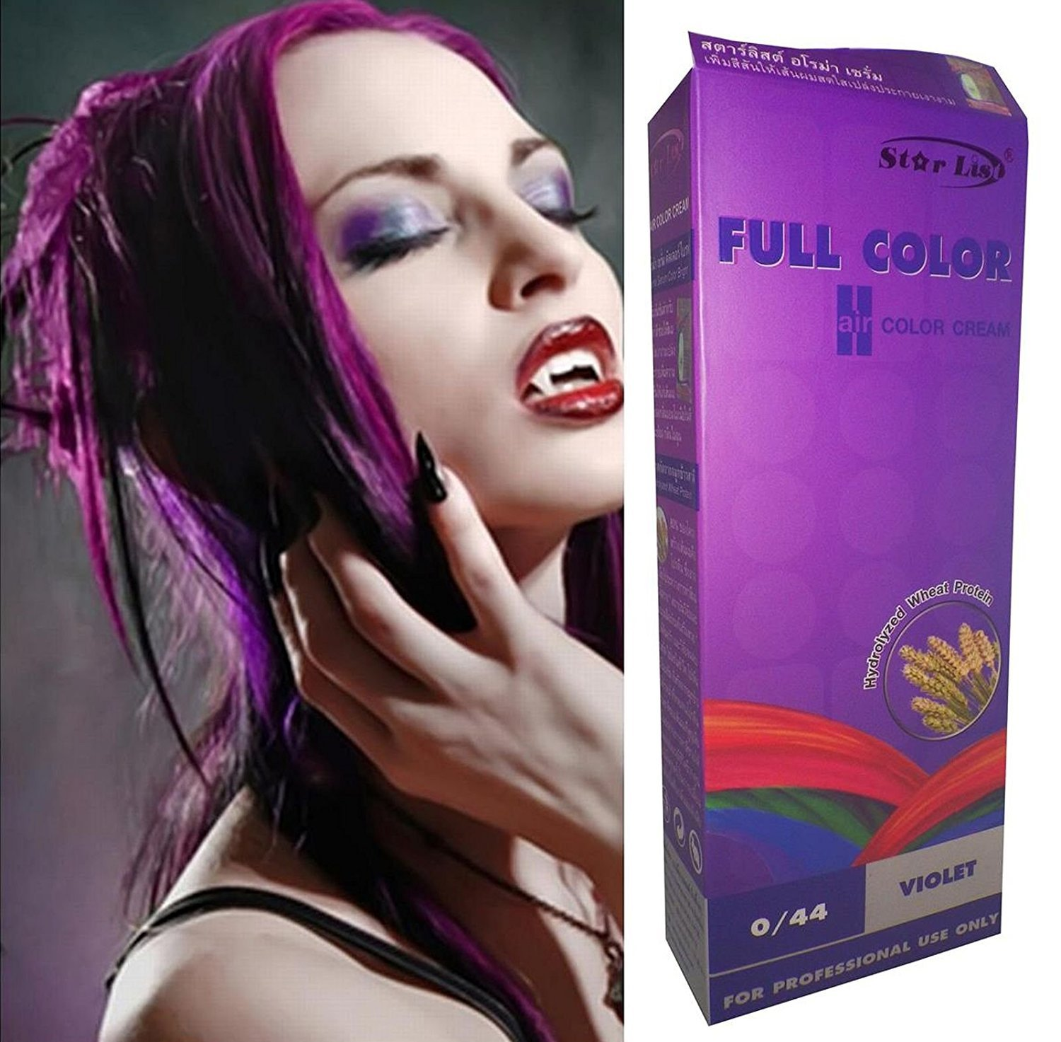 Starlist Permanent Hair Colour Cream Dye Goth Cosplay Emo Punk Purple with Serum