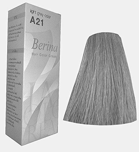 Berina Permanent Hair Dye Color Cream # A21 Light Grey Made in Thailand