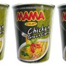 Mama Cup Chicken Green Curry Flavor nstant Noodles 60g x 3 Pieces - Thai Snack