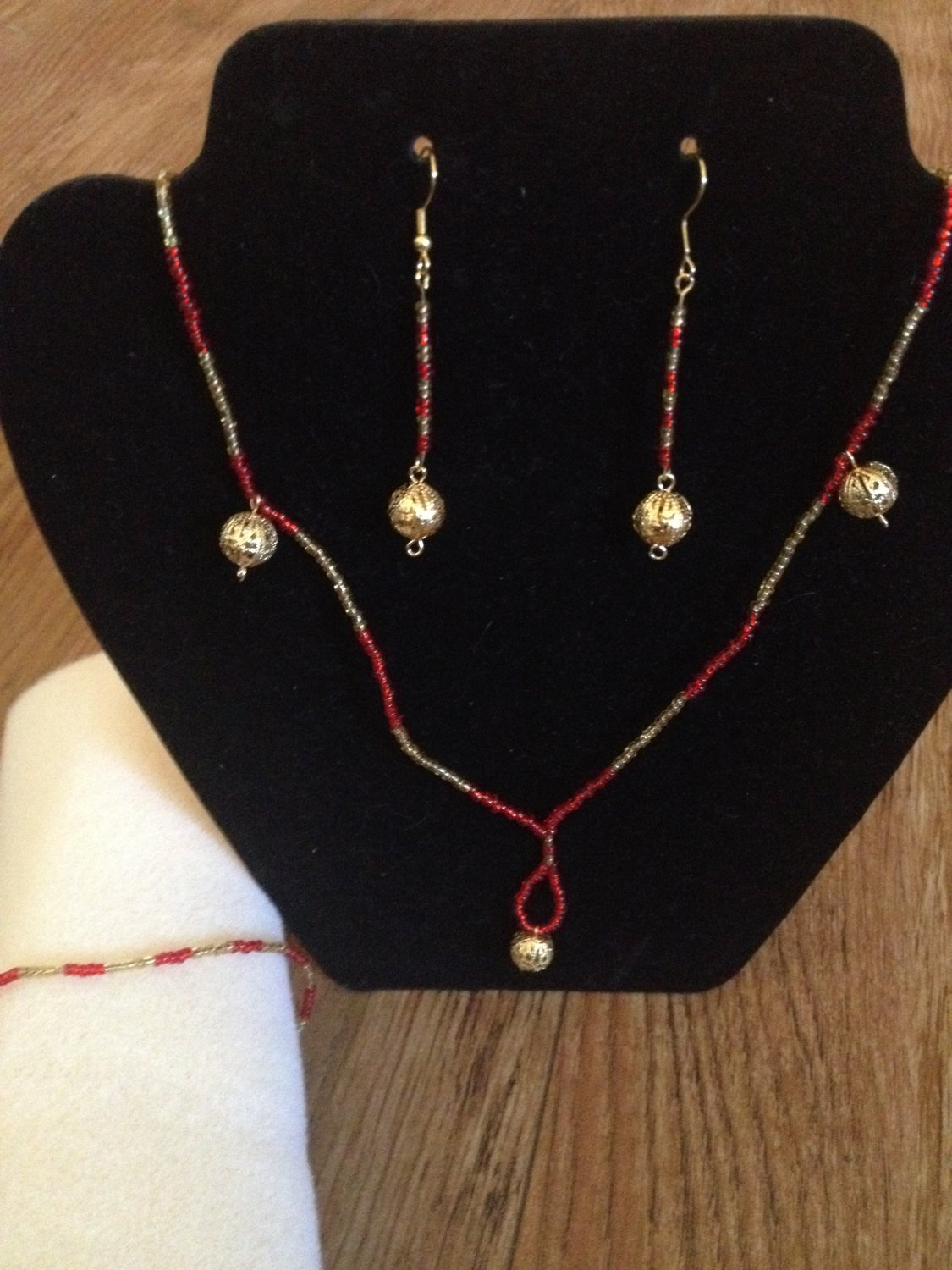 Red and Gold Beaded Set