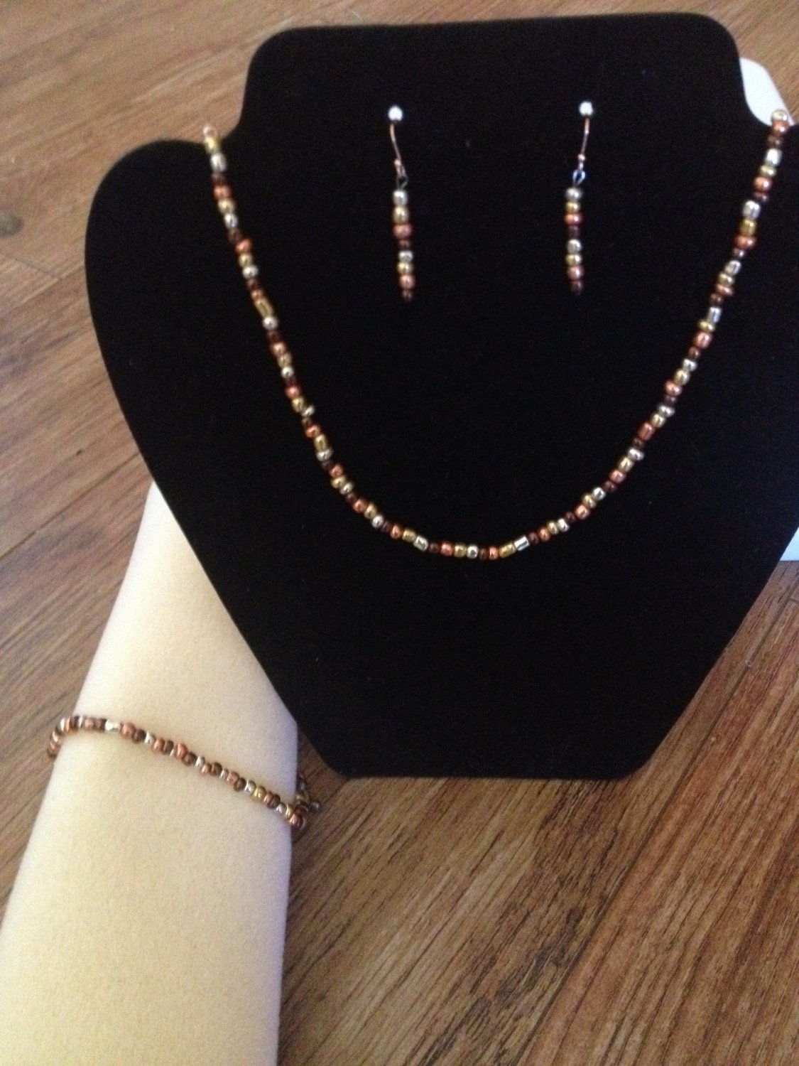 Brown, Gold, and Silver beaded Set