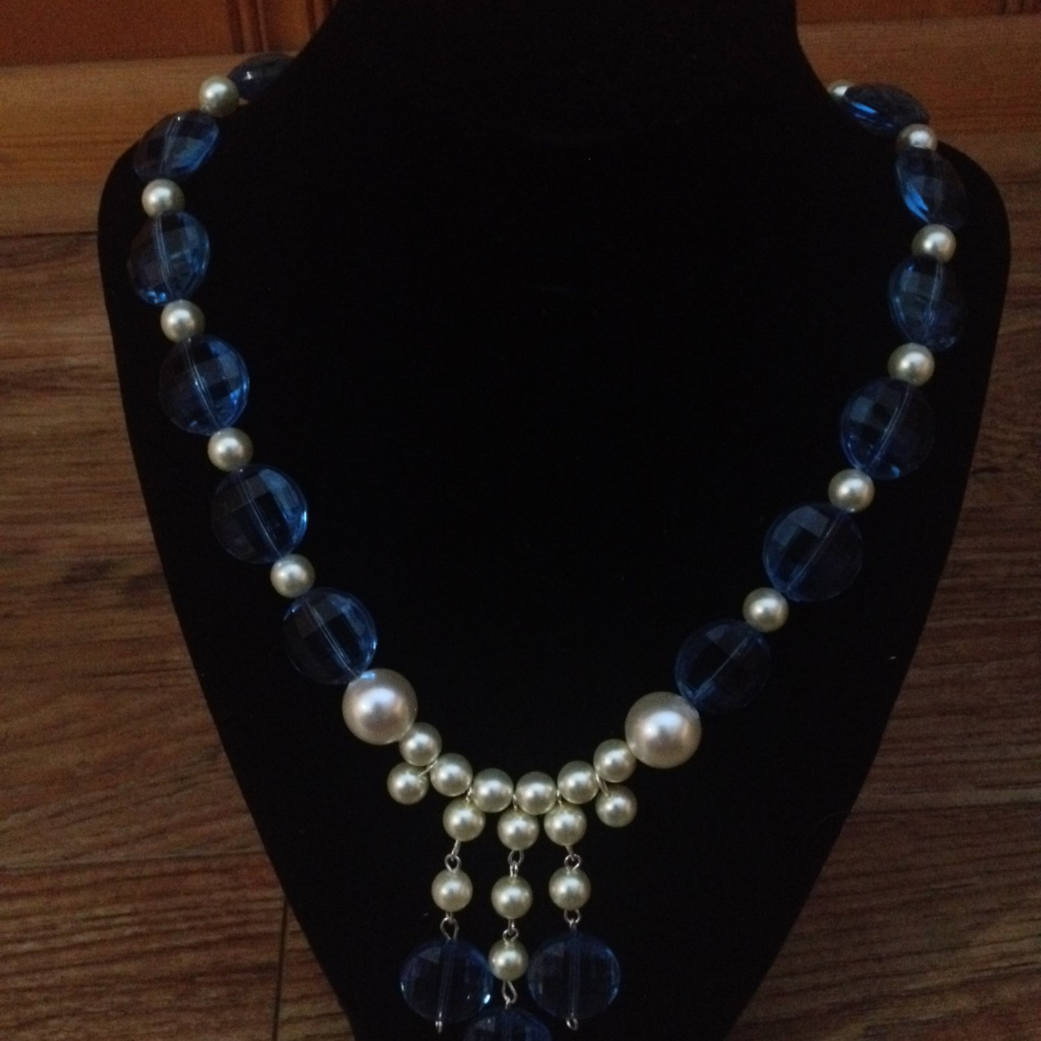 White Pearl and Blue Beaded Necklace