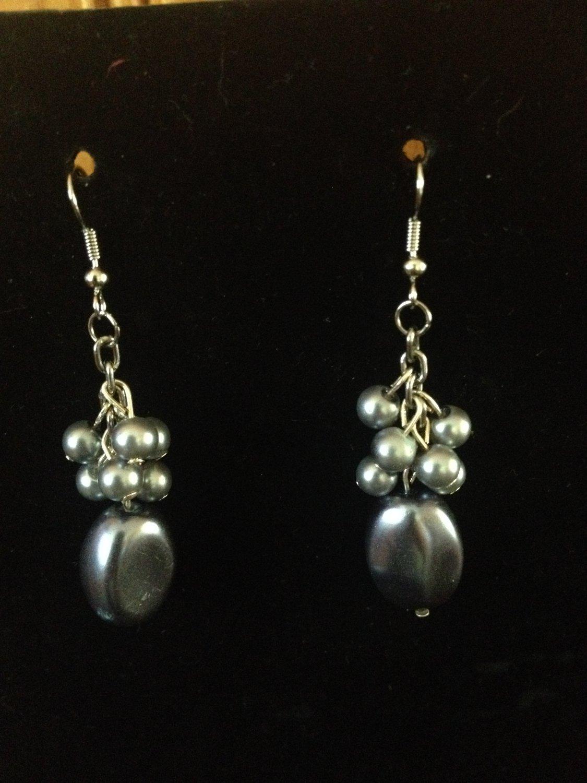 Grey Pearl Bead Earrings