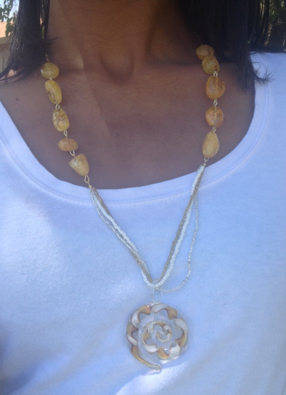 Yellow and white Beaded Necklace with Glass charm
