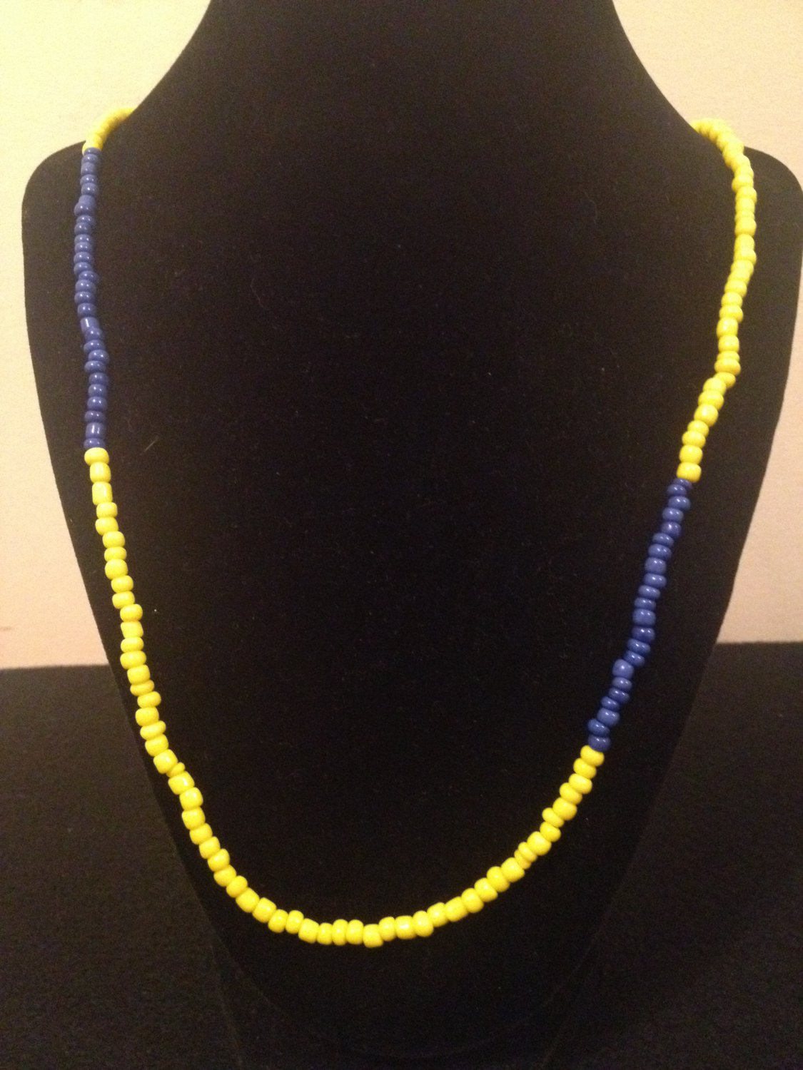 Yellow and Blue Beaded Necklace