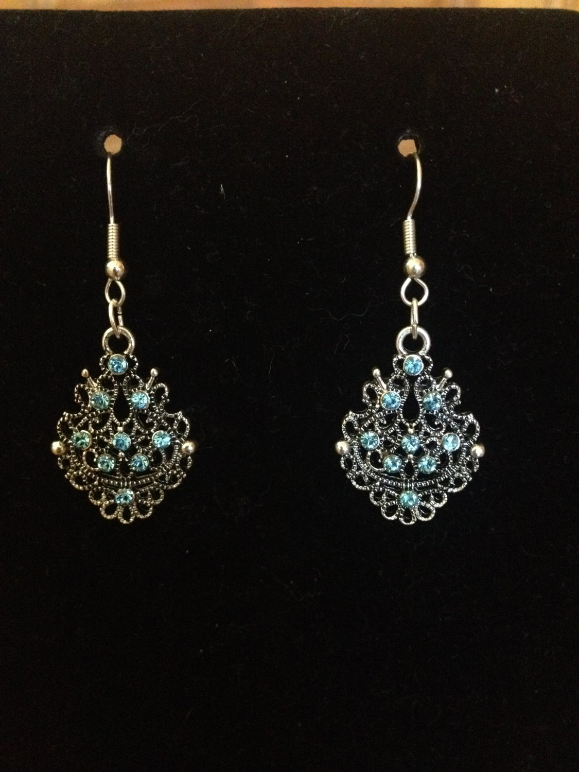 Silver Earrings with Blue Gem