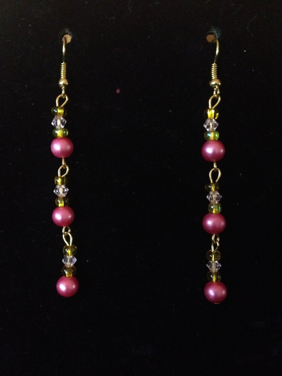 Pink and Yellow Beaded Earrings