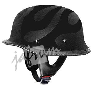 115FlatFlames - Flat Flame DOT Approved German Motorcycle Helmet