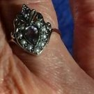 SALE! ELEGANT VICTORIAN STYLE AMETHYST AND SEED PEARL 925 SILVER RING SIZE P 1/2