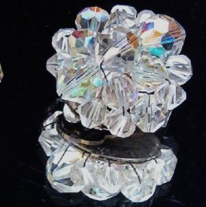 ANTIQUE CRYSTAL AURORA BOREALIS (AB) EARRINGS (E64)