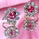 ANTIQUE D.E. CURTIS 12K GF RHINESTONE EARRINGS  (FF68)