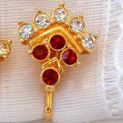 VINTAGE RUBY RHINESTONE EARRINGS (E25)