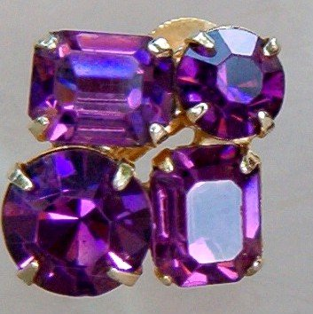 ANTIQUE CORO AMETHYST RHINESTONE EARRINGS  (DES20)