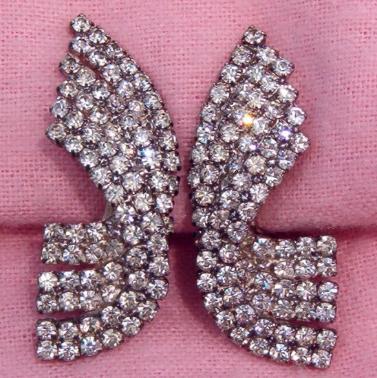 ANTIQUE 90+ RHINESTONE EARRINGS (E69)