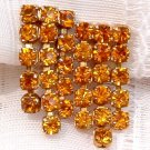 ANTIQUE AMBER RHINESTONE DANGLE EARRINGS  (E75)