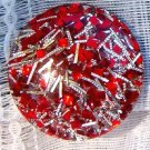 ANTIQUE CONFETTI LUCITE RED & SILVER EARRINGS (E35)