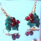 ANTIQUE ARTS & CRAFTS GRAPE MOTIF EARRINGS  (FF63)