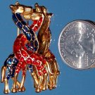 "VINTAGE ENAMELED ""GIRAFFES in LOVE"" BROOCH (FIG5)"