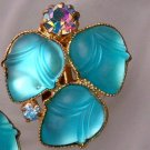 ANTIQUE AQUA GLASS FRUIT SALAD & AB EARRINGS (FF70)
