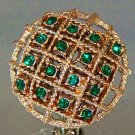 VINTAGE EMERALD RHINESTONE EARRINGS  (E101)