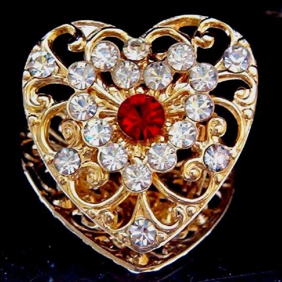 RHINESTONE HEART PIN (LOV64)