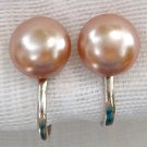 VINTAGE ROSE TAUPE PEARL EARRINGS  (PRL24)
