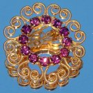 ANTIQUE AMETHYST RHINESTONE CIRCLE PIN  (P4)