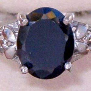 VINTAGE STERLING BLACK AMETHYST RING SZ. 9 (R15)