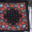Floral Scarf Pure Wool Vintage Black Ukrainian, Russian Floral Scarf, black shawl, black USSR Shawl,