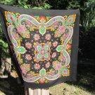 Vintage Asian Black Scarf with Fringes, Asian Floral Scarf, black Asian beautiful Shawl, Babushka As