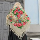 White Vintage Ukrainian shawl, Russian Floral Scarf ,floral scarf, white shawl, wedding shawl, bride