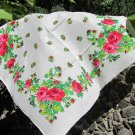 Vintage Floral Wool and Acrylic White Scarf, Ukrainian White Shawl, Russian Floral Scarf, Floral Whi